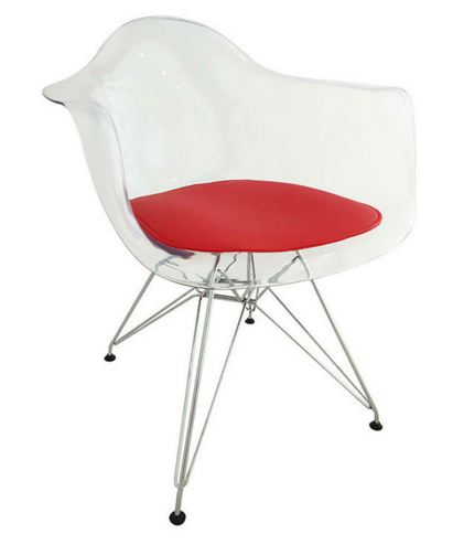 Cadeira Eiffel Com Bracos e Almofada Vermelha - Moln Design Furniture