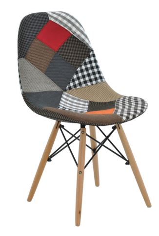 Cadeira Eiffel Charles Eames Patchwork Base Madeira - Moln Design Furniture