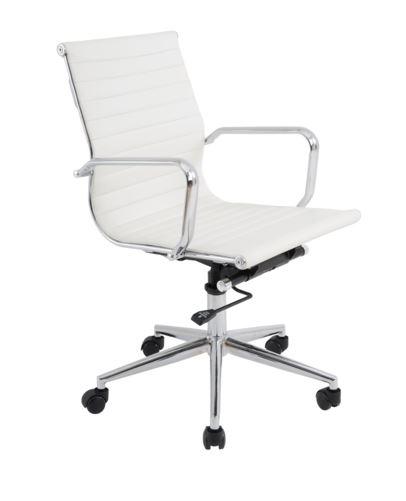 Cadeira Escritório Charles Eames Office Giratória Diretor Branca Encosto Baixo - Moln Design Furniture