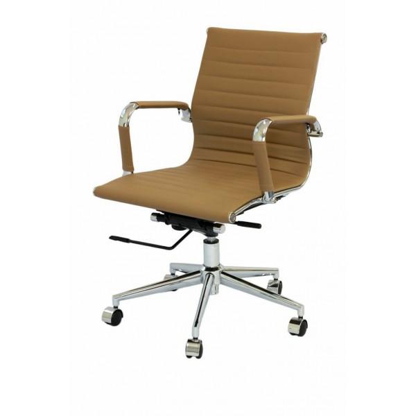 Cadeira Escritório Charles Eames Office Giratória Diretor Caramelo Encosto Baixo - Moln Design Furniture
