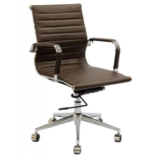 Cadeira Escritório Charles Eames Office Giratória Diretor Marrom Encosto Baixo - Moln Design Furniture