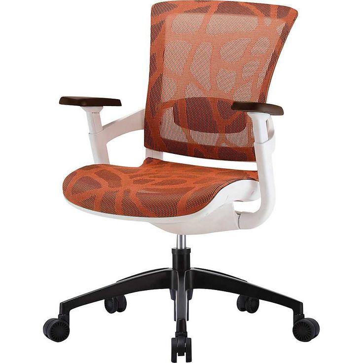 Cadeira Escritório Diretor Giratória Ergonômica em Tela Mesh Laranja Modelo Skate - Moln Design Furniture