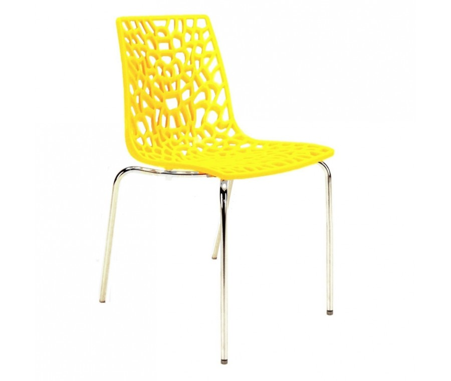 Cadeira Groove Polipropileno e base cromada Amarelo - Moln Design Furniture