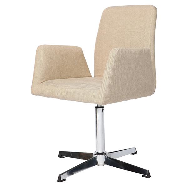 Cadeira Linho Bege Base Cromada - Moln Design Furniture