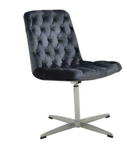 Cadeira Marta Veludo Capitonê Chumbo - Moln Design Furniture