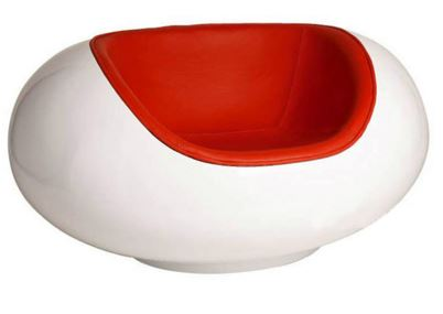 Cadeira Pastil Chair Fibra de Vidro Branca e Vermelha - Moln Design Furniture