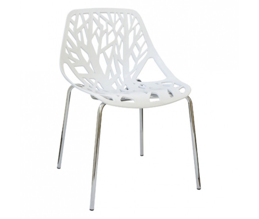 Cadeira Planta Branca Polipropileno e base cromada - Moln Design Furniture