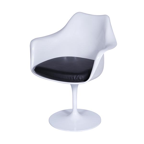 Cadeira Saarinen Braco Branca Assento Preto - Moln Design Furniture