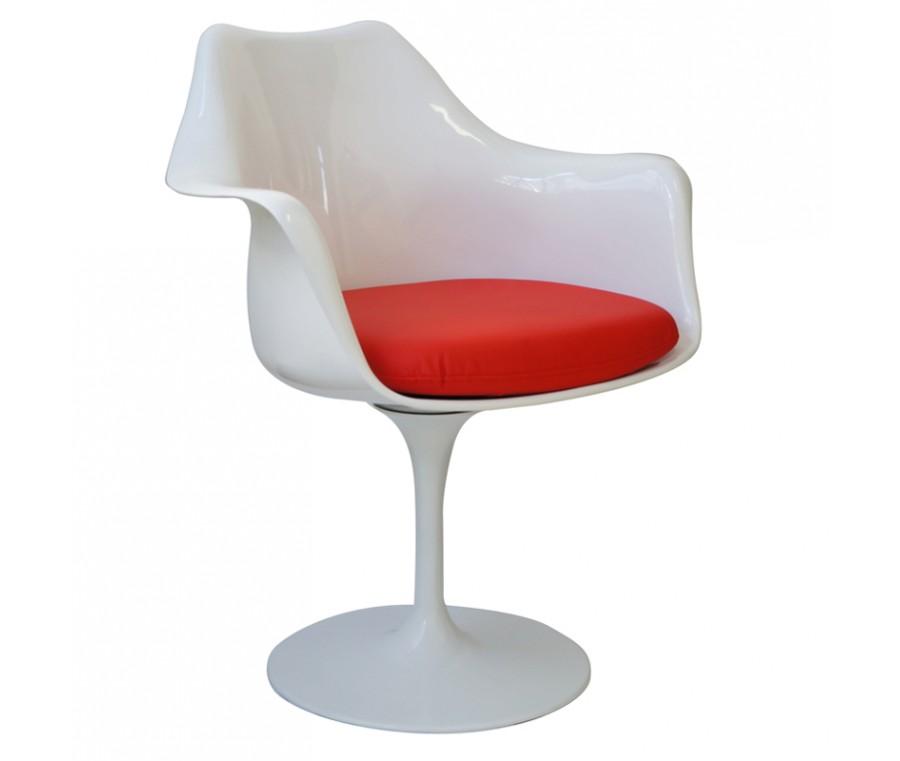 Cadeira Saarinen Braco Branca Assento Vermelho - Moln Design Furniture