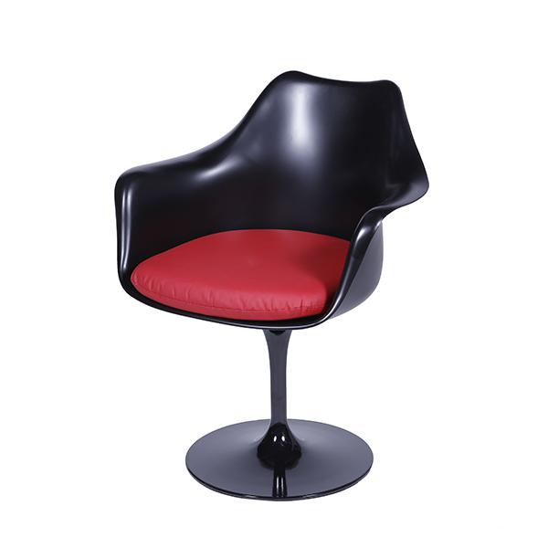 Cadeira Saarinen Com Bracos Preta Assento Vermelho - Moln Design Furniture