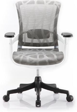 Cadeira Escritório Diretor Giratória Ergonômica em Tela Mesh Branca Modelo Skate - Moln Design Furniture