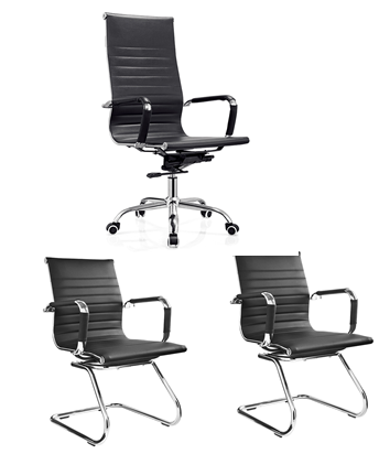 Conjunto Cadeira Escritório BRUN Charles Eames Presidente Preta - Moln Design Furniture