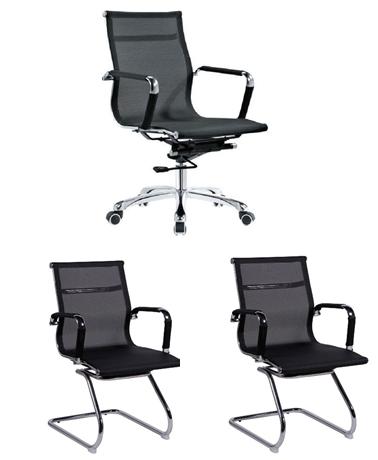 Conjunto Cadeira Escritório HAAV Tela Charles Eames Diretor Preta - Moln Design Furniture