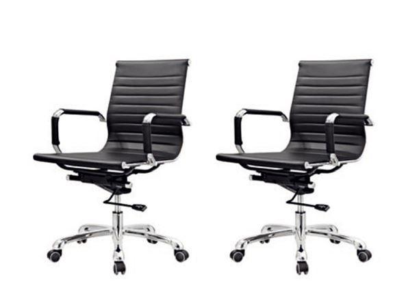 KIT 2 Cadeira Escritório BRUN Charles Eames Office Giratória Diretor Preta Encosto Baixo - Moln Design Furniture
