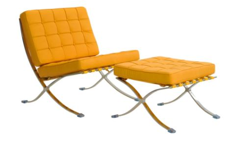 Poltrona Barcelona Aço inox Couro Sintetico Amarela - Moln Design Furniture