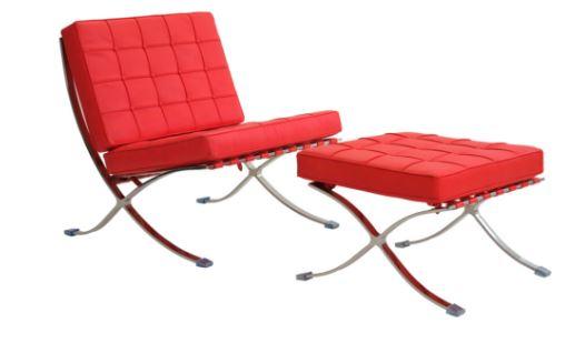 Poltrona Barcelona Aço inox Couro Sintetico Vermelha - Moln Design Furniture