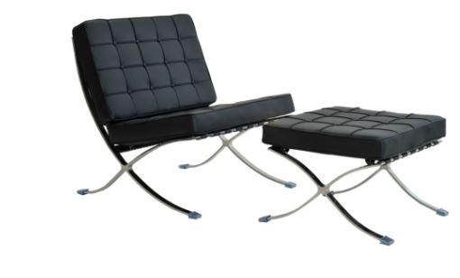 Poltrona Barcelona Aço inox em Couro sintetico Preta - Moln Design Furniture