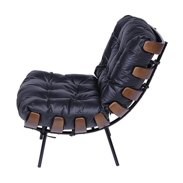 Poltrona Costela Couro Sintético Preto - Moln Design Furniture