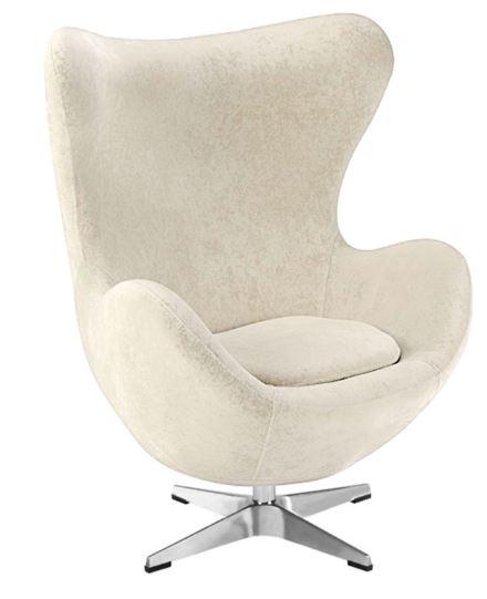 Poltrona Egg Arne Jacobsen Tecido Velutê Gelo - Moln Design Furniture