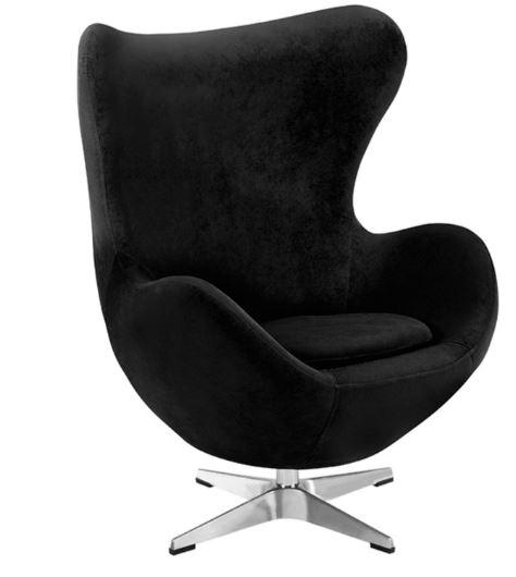 Poltrona Egg Arne Jacobsen Tecido Velutê Preto - Moln Design Furniture