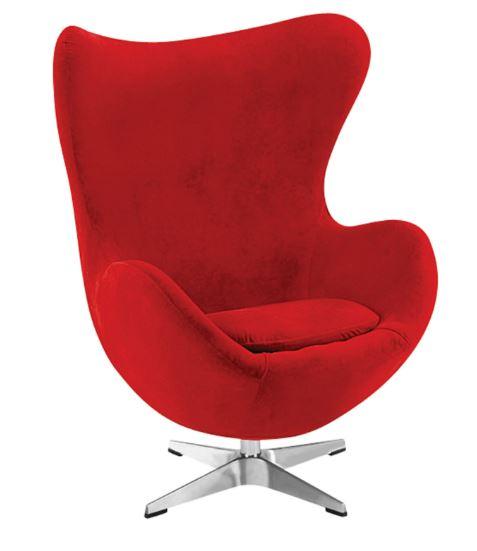 Poltrona Egg Arne Jacobsen Tecido Velutê Vermelho Moln Design