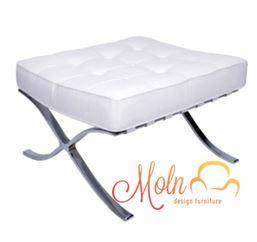 Puff Suporte para Pés Barcelona Couro Sintetico Aço Inox Branco - Moln Design Furniture