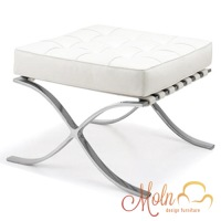 Puff Suporte para Pés Barcelona em Courissimo Aço Inox Branco - Moln Design Furniture