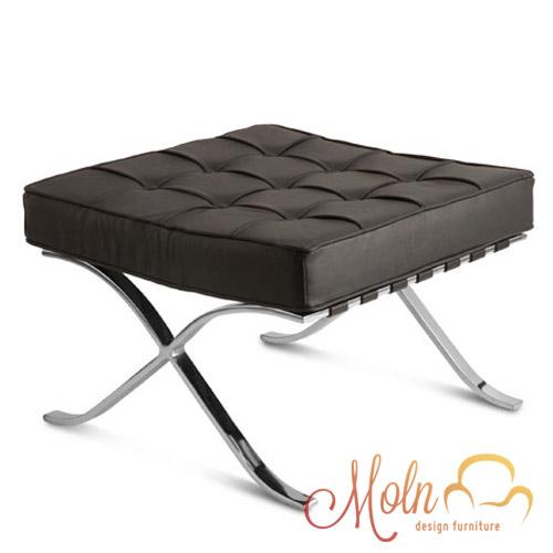Puff Suporte para Pés Barcelona em Courissimo Aco Inox Preto - Moln Design Furniture