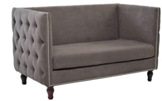 Sofa Homero 2 Lugares Veludo Marrom - Moln Design Furniture