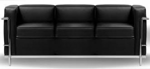 Sofa  Le Corbusier 3 Lugares PU Preto - Moln Design Furniture