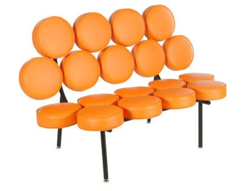 Sofa Marshmellow George Nelson Couro Laranja - Moln Design Furniture