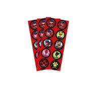 Adesivo 3 Cartelas Redondo Miraculous