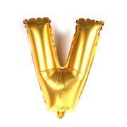 Balão Metalizado Letra V Dourado