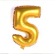 Balão Metalizado Mini Shape Número 5 Dourado
