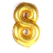 Balão Metalizado Mini Shape Número 8 Dourado