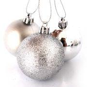 Bola Natal Prata Mista 5cm com 10 unidades