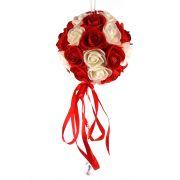 Buquê De Rosas Vermelho E Branco Unidade