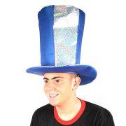 Cartola Alta Azul Com Paetê