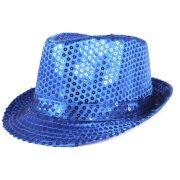 Chapéu Malandro Paetê Azul Escuro