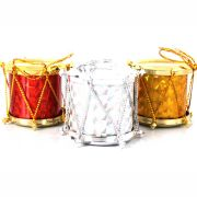Enfeite Natal Tambor com 6 unidades - Cores Sortidas
