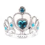 Kit 50 Coroa De Princesa Prata Com Pedra Azul