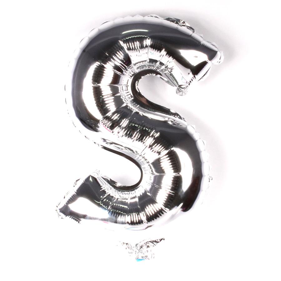 Balão Metalizado Letra S Prata 45cm