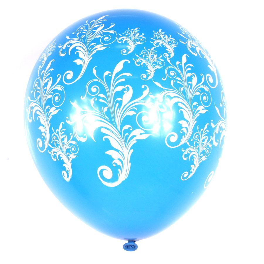 Balão Pic Pic Arabesco Nº10 C/ 25Un Azul E Branco