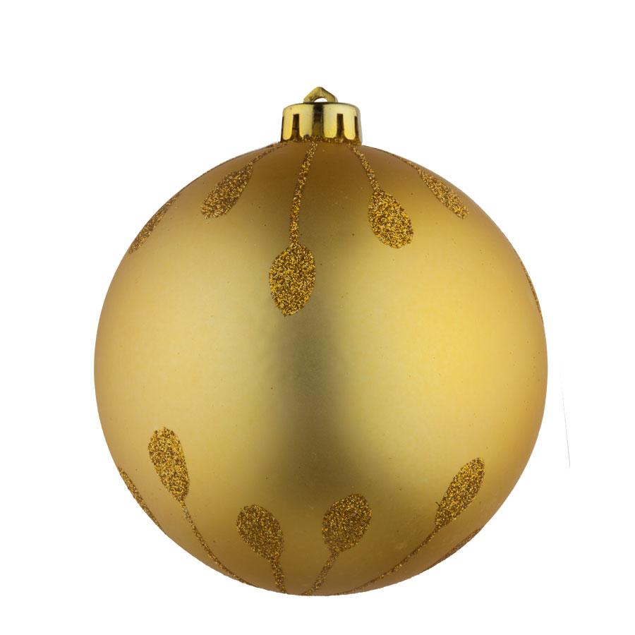 Bola Desenho Glitter 10Cm Dourada 2Un