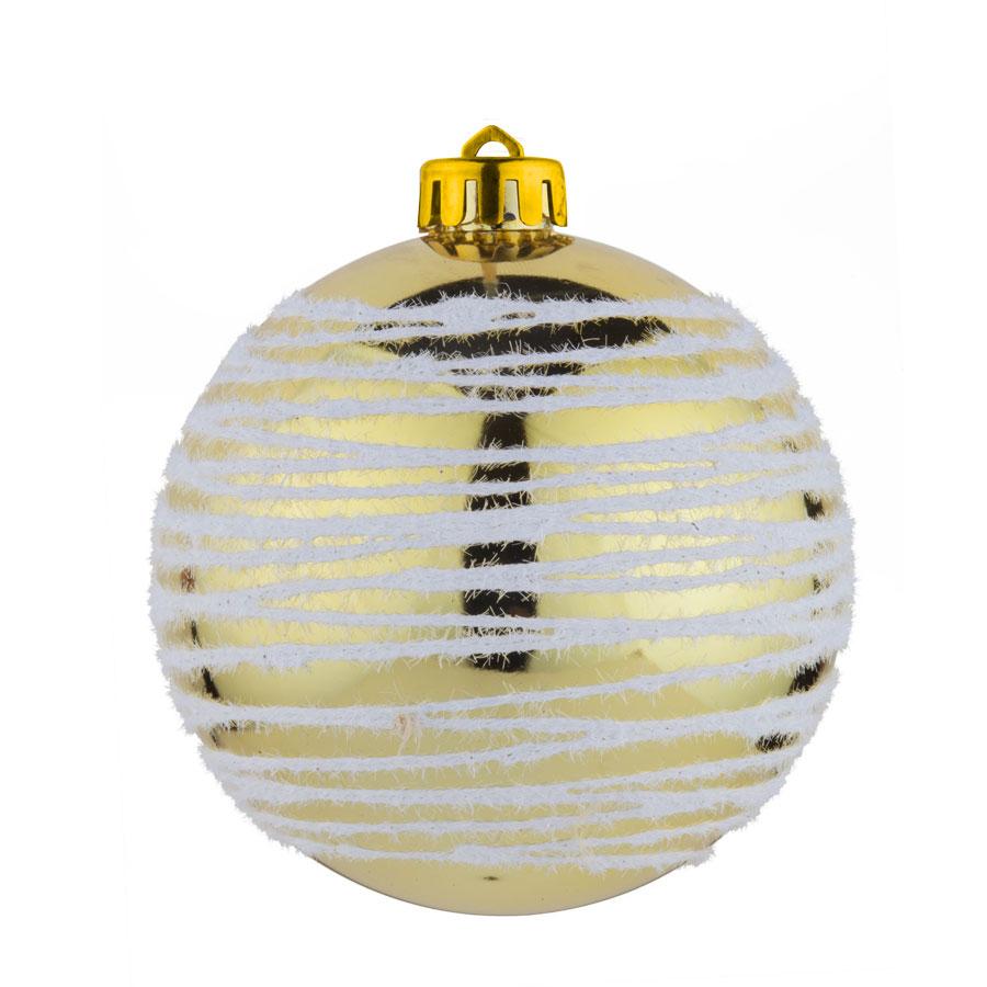 Bola Fio Glitter 8Cm Dourada 4Un