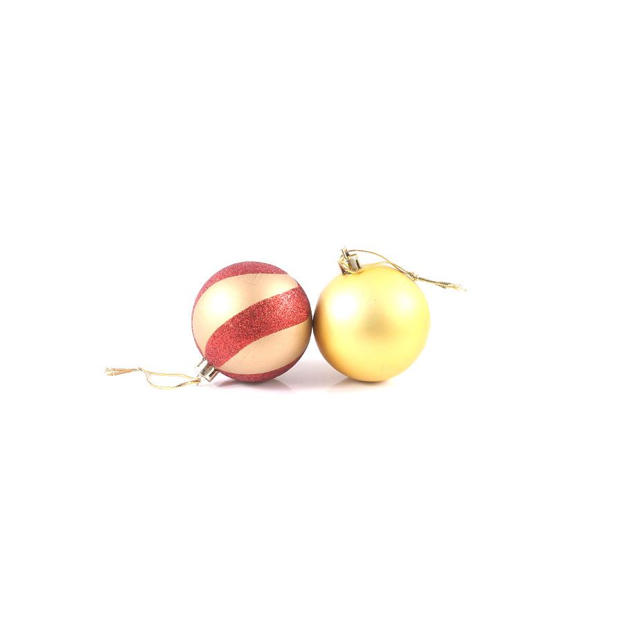 Bola Natal 6Cm Vermelha Dourada C/6