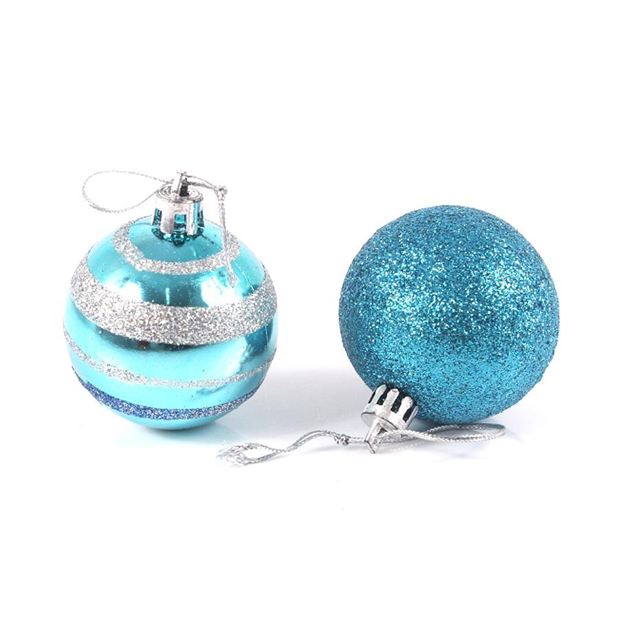Bola Natal Pequena Azul C/8Un