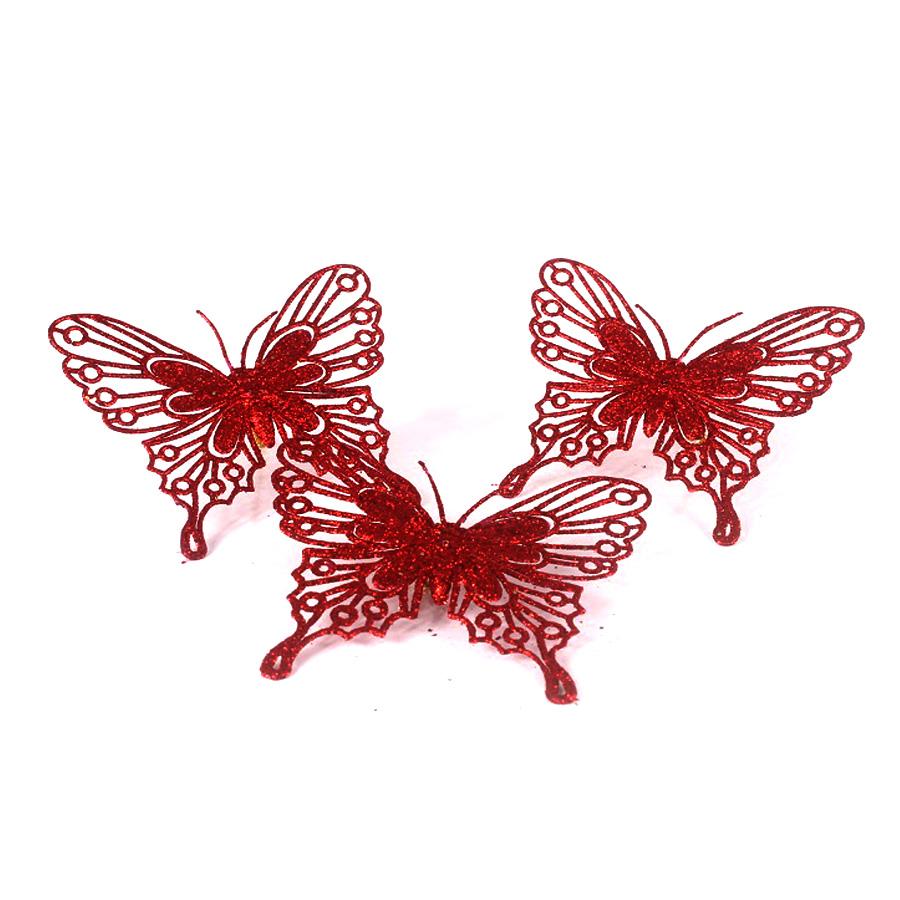 Borboleta 10Cm Vermelha 3Un