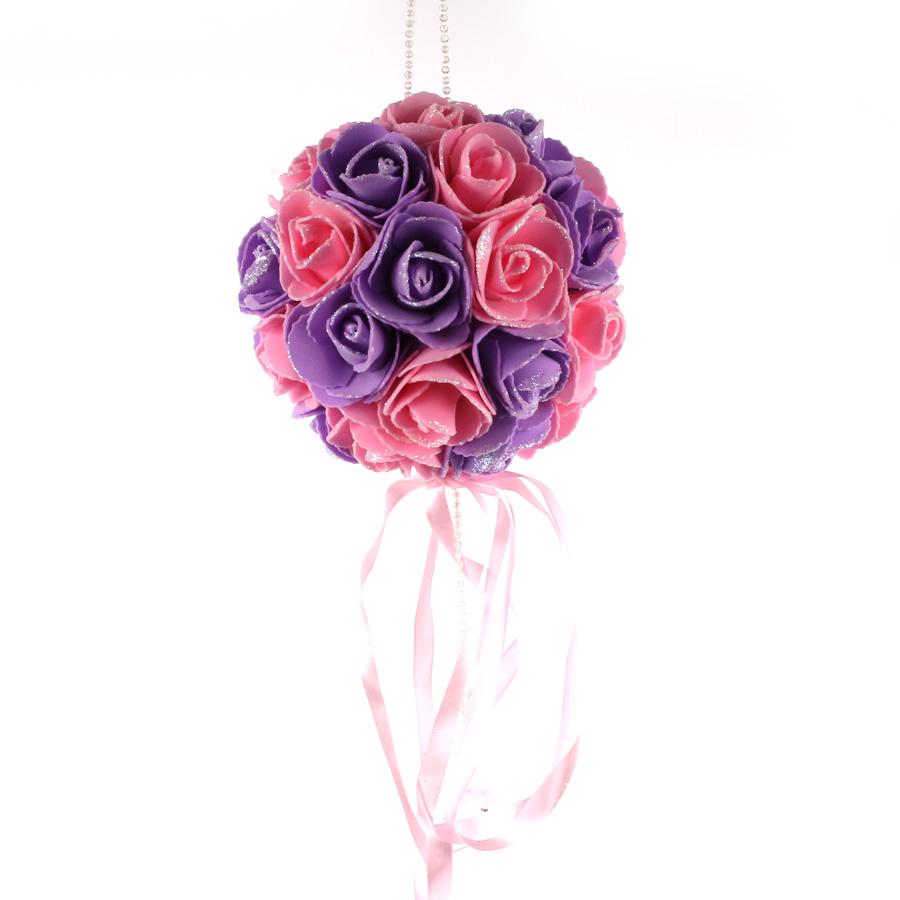 Buquê De Rosas Lilás E Rosa Unidade
