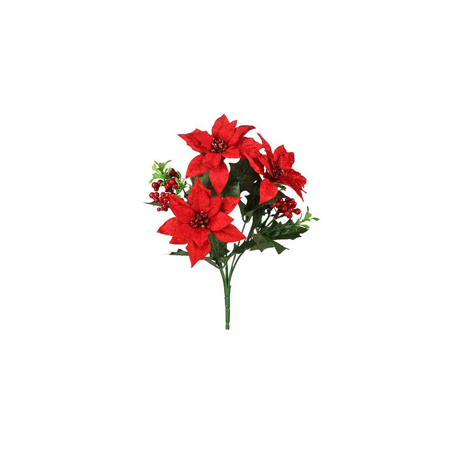 Buquê Poinsétia Jordano X3 Vermelho Milena 30Cm